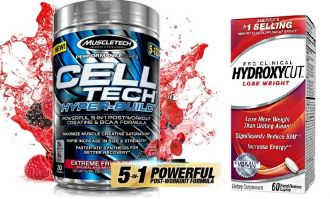 MuscleTech CELL-TECH HYPER BUILD 485g + HYDROXYCUT Pre Clinical 60cps.